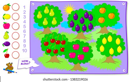 Printable educational page for kids. Count the quantity of fruits in the garden and  write the numbers in circles. Worksheet for baby book. Logical puzzle game. Back to school.