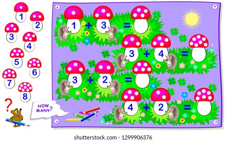 Printable educational page for kids with exercises on addition. Solve examples, count quantity of dots, write numbers on mushrooms. Back to school. Worksheet for baby textbook. Vector cartoon image.