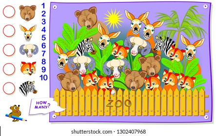 Printable educational page for kids. How many animals can you find in the zoo? Count the quantity and write the numbers in circles. Logic puzzle. Worksheet for baby textbook. Vector cartoon image.