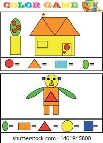 Printable educational page for kids. How many triangles, squares and pentagons can you find? Count the quantity of geometric figures, paint them in corresponding colors and write numbers
