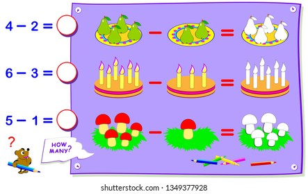 Printable educational page for kids on subtraction. Count the quantity and paint corresponding number of objects. Solve examples and write answers. Development children skills. Vector cartoon image.