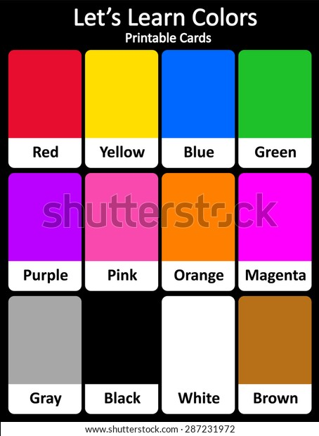 photograph about Printable Colors called Printable Flash Card Selection Hues Their Inventory Vector