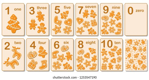 Printable flashcard collection for numbers from 0 to 10 on the theme of Christmas and gingerbread. For preschool years and kindergarten kids learning numbers, to count. Vector illustration