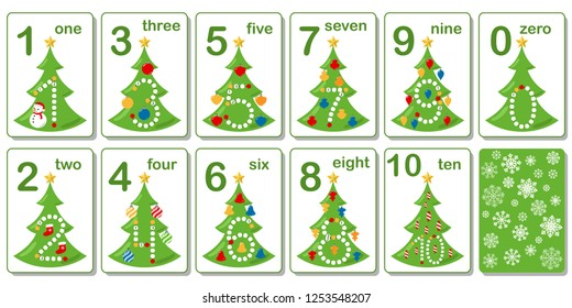 Printable flashcard collection for numbers from 0 to 10 on the theme of Christmas and New Year. Tracing for preschool years and kindergarten kids learning to count and to write. Vector illustration