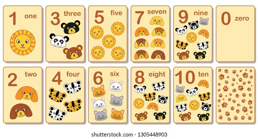 Printable flashcard collection for numbers from 0 to 10 with the faces of animals. For preschool years and kindergarten kids learning numbers, to count. Vector illustration