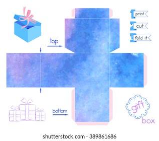 Printable gift box with blue blurring watercolor imitation. Template for cubic paper box with lid. Abstract texture favor box. Decorative and infographic elements. Vector illustration.