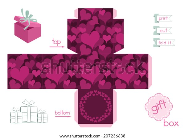 graphic about Printable Gift Box identified as Printable Reward Box Hearts Template Cubic Inventory Vector
