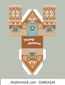 Printable gift gingerbread house with christmas glaze elements. New Year Decor template 3 d house. Easy for installation - print, cut, fold it. House 3d Paper Craft. Vector packaging design for sweets