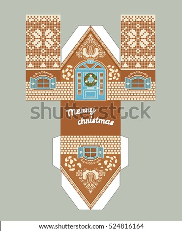 Printable Gift Gingerbread House Christmas Glaze Stock Vector