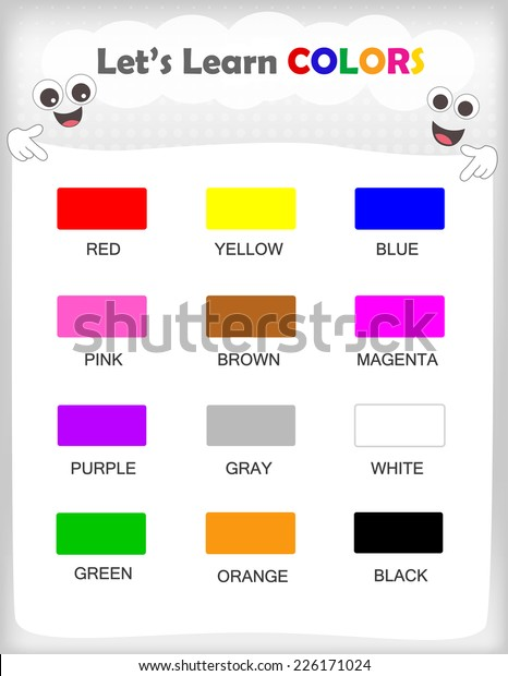 Printable Kids Learning Sheet 12 Different Stock Vector ...