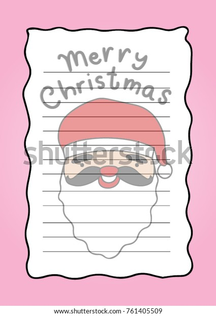 photograph regarding Printable Christmas Stationery named Printable Letter Pad Xmas Stationery Santa Inventory Vector