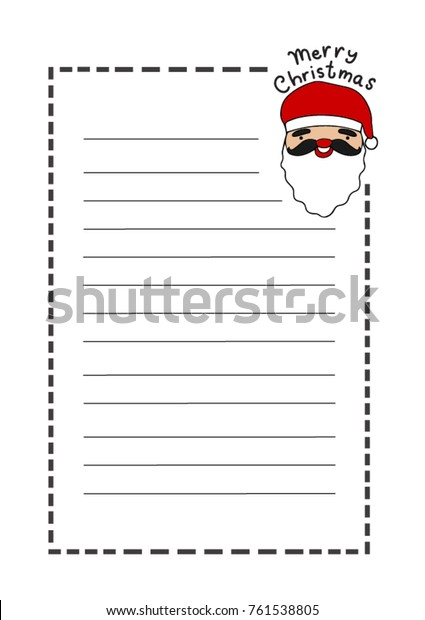 picture relating to Printable Christmas Stationery called Printable Letter Pad Xmas Stationery Santa Inventory Vector