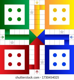 Printable Ludo board family game Vector