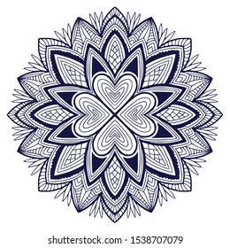 Printable mandala art. Abstraction black and white background. Template for textile. Graphic mandala pattern. Colouring book page
