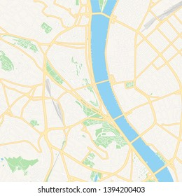 Printable map of Budapest, Hungary with main and secondary roads and larger railways. This map is carefully designed for routing and placing individual data.