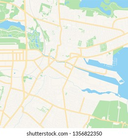 Printable map of Horsens, Denmark with main and secondary roads and larger railways. This map is carefully designed for routing and placing individual data.