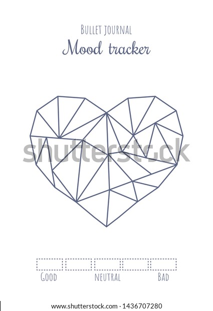 graphic relating to Free Mood Tracker Printable referred to as Printable Temper Tracker Very simple Polygonal Middle Inventory Vector
