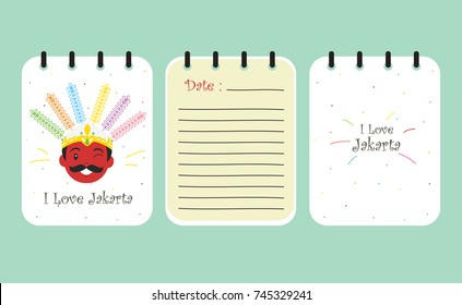 printable notebook template vector. Jakarta Indonesia male ondel - ondel cover design