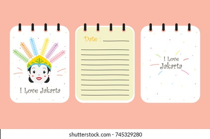 printable notebook template vector. Jakarta Indonesia female ondel - ondel cover design
