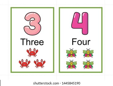 image regarding Printable Number Flashcards called Range Flashcards Photographs, Inventory Photographs Vectors Shutterstock
