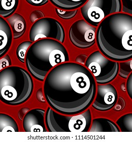 Printable pattern with billiards pool snooker 8 ball symbol. Vector illustration. Ideal for wallpaper, wrapper, packaging, fabric, textile, paper design and any kind of decoration.