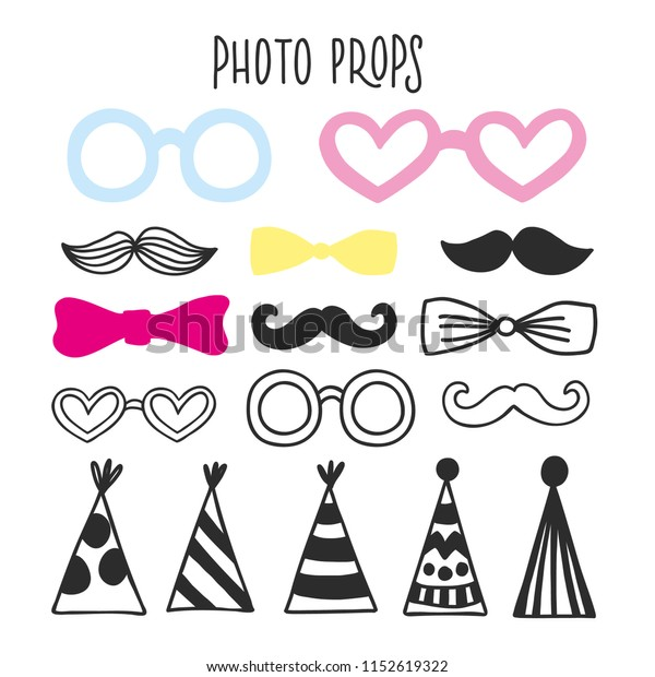 graphic about Photo Props Printable known as Printable Picture Booth Props Moustache Gles Inventory Vector