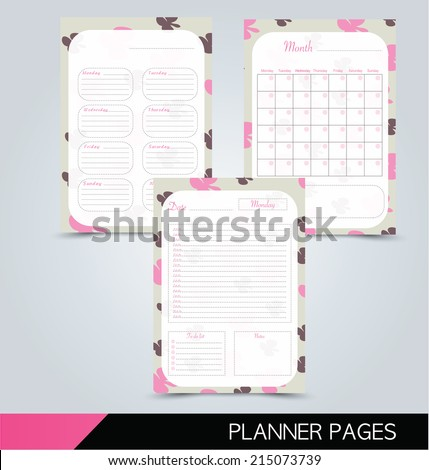 Printable Planner Pages Daily Planner Weekly Stock Vector Royalty