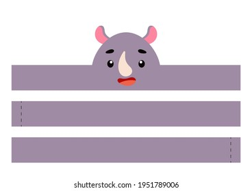 Printable rhino paper crown. Party headband die cut template for birthday, christmas, baby shower. Fun accessory for entertainment. Print, cut and glue. Vector stock illustration.