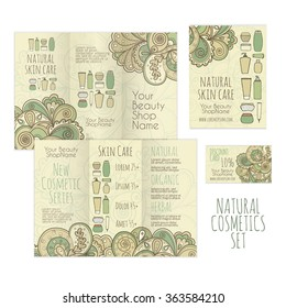 Printable set for cosmetics shop. Brochure, leaflet and business card templates. Natural skin care creative concept. Beautiful ornamental background.