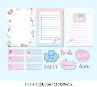 Printable and sticker with unicorn,cake,car,crown,rainbow,glasses and ribbon in fairytale style. with wording good time,birthday,love,party and to do