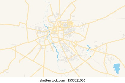 Printable street map of Akola, State Maharashtra, India. Map template for business use.