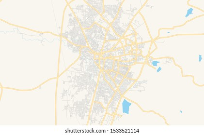 Printable street map of Amravati, State Maharashtra, India. Map template for business use.