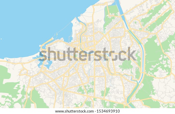 Printable Street Map Banda Aceh Province Stock Vector Royalty Free 1534693910