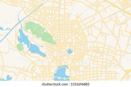 Printable street map of Changshu, Province Jiangsu, China. Map template for business use.