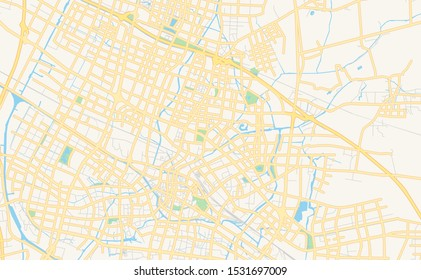 Printable street map of Changzhou, Province Jiangsu, China. Map template for business use.