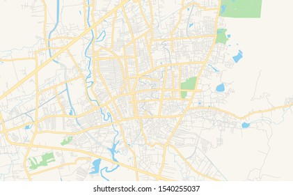 Printable street map of Hat Yai, Province Songkhla, Thailand. Map template for business use.