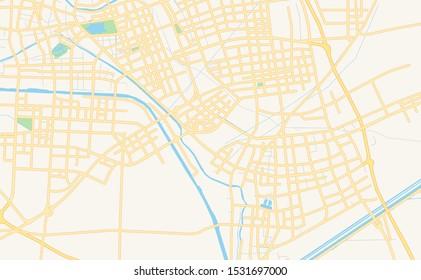 Printable street map of Huai an, Province Jiangsu, China. Map template for business use.