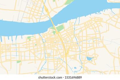 Printable street map of Jiangyin, Province Jiangsu, China. Map template for business use.