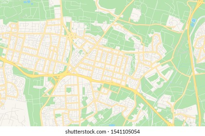 Printable street map of Kfar Saba, District Center, Israel. Map template for business use.