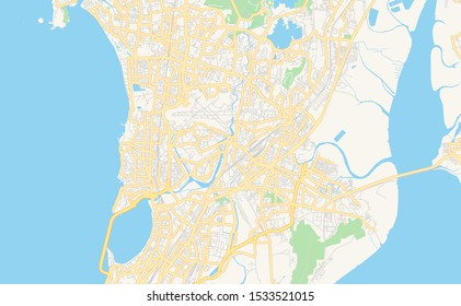 Printable street map of Mumbai, State Maharashtra, India. Map template for business use.