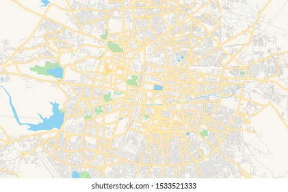 Printable street map of Nagpur, State Maharashtra, India. Map template for business use.