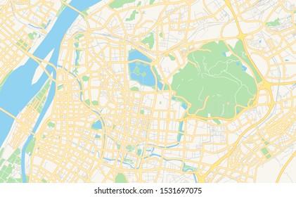 Printable street map of Nanjing, Province Jiangsu, China. Map template for business use.
