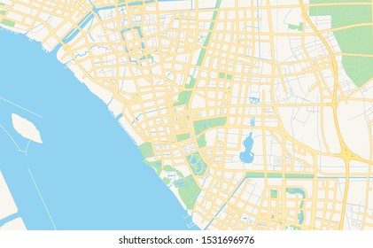 Printable street map of Nantong, Province Jiangsu, China. Map template for business use.
