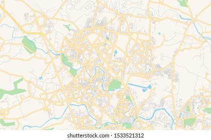 Printable street map of Pimpri-Chinchwad, State Maharashtra, India. Map template for business use.