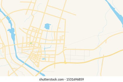 Printable street map of Pizhou, Province Jiangsu, China. Map template for business use.