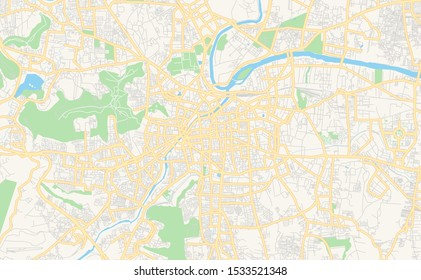 Printable street map of Pune, State Maharashtra, India. Map template for business use.