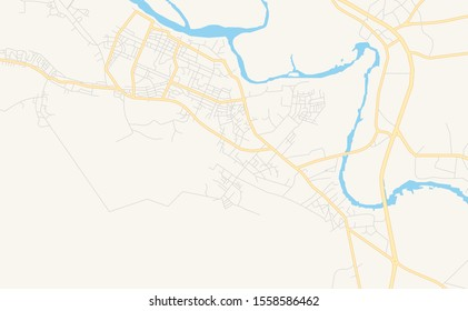 Printable street map of Sapele, Nigeria. Map template for business use.