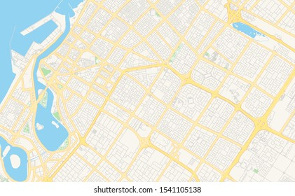 Printable street map of Sharjah  , United Arab Emirates. Map template for business use.