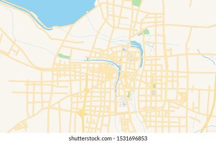 Printable street map of Suqian, Province Jiangsu, China. Map template for business use.