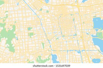 Printable street map of Suzhou, Province Jiangsu, China. Map template for business use.